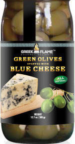 greek green olives with blue cheese